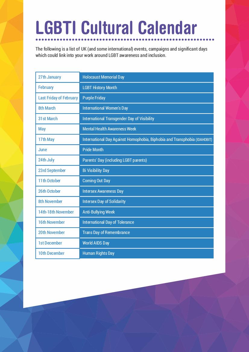 LGBTI Cultural Calendar